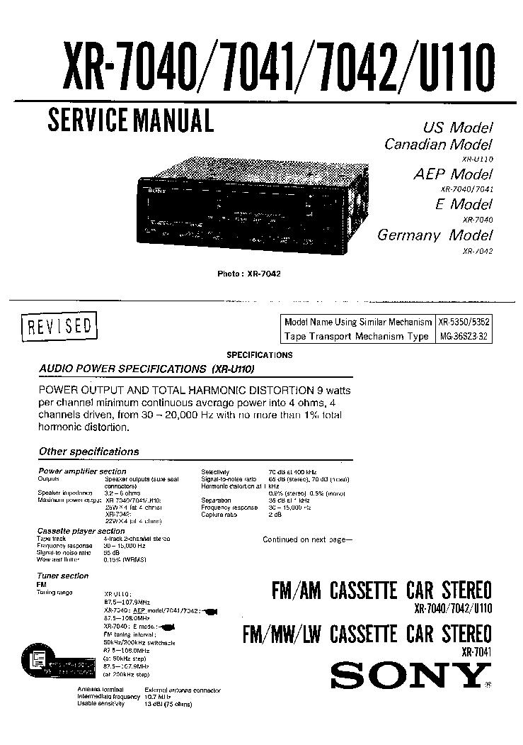 SONY XR-7040 XR-7041 XR-7042