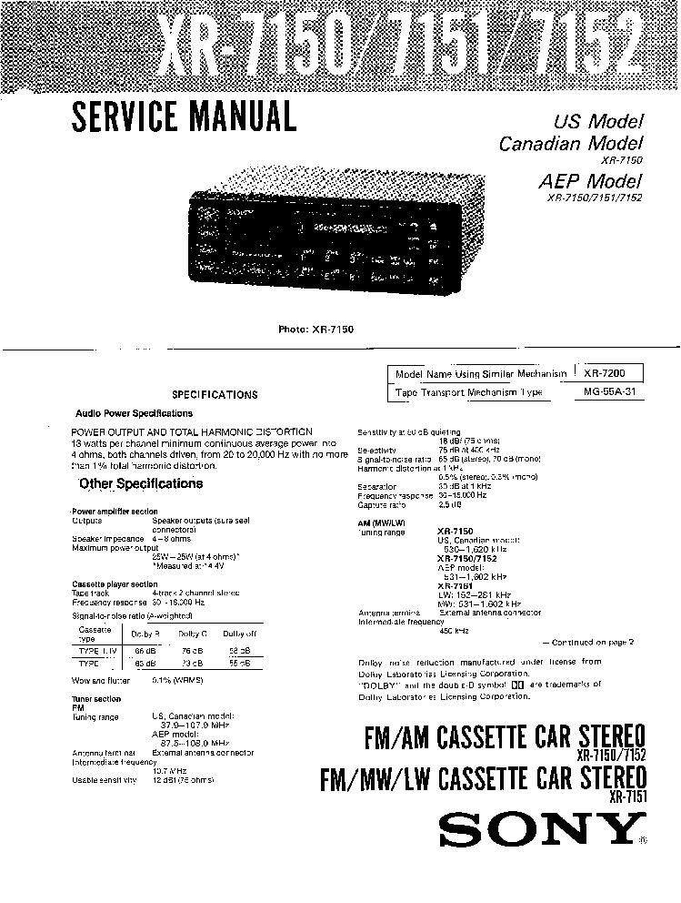 SONY XR-7150,7151,7152 service