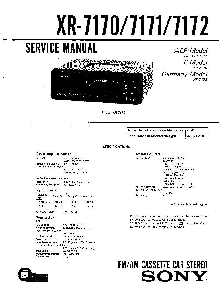 SONY XR-7170,XR-7171,XR-7172 service manual (1st