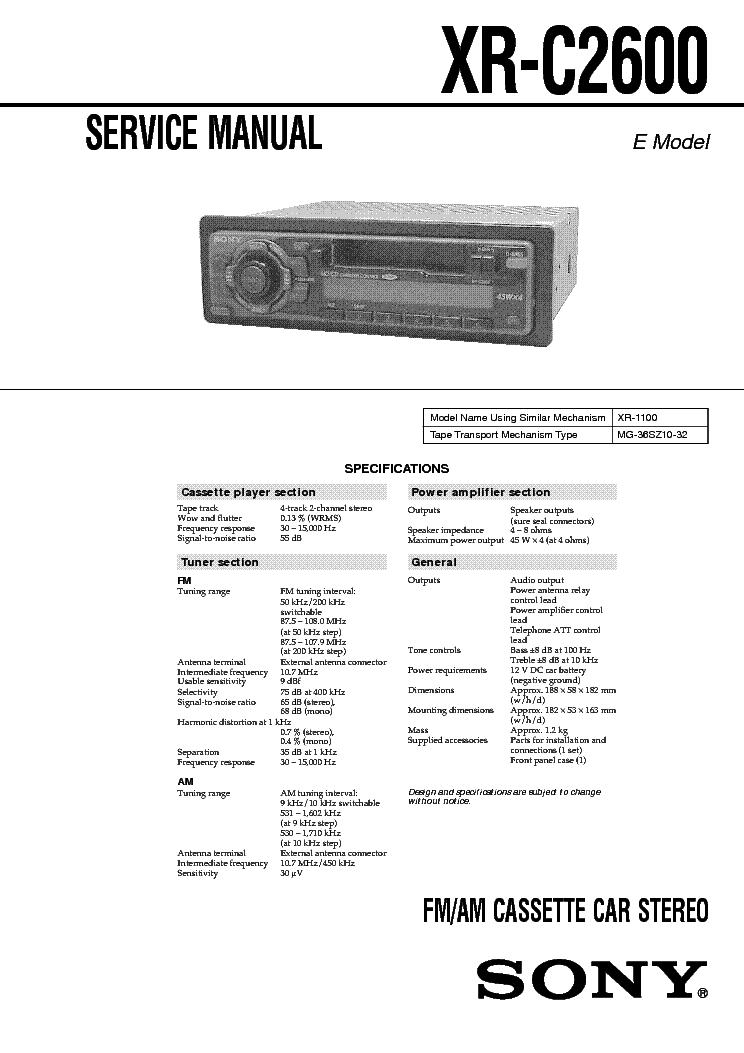 SONY XR-C2600 SONY XR-C2600 SM