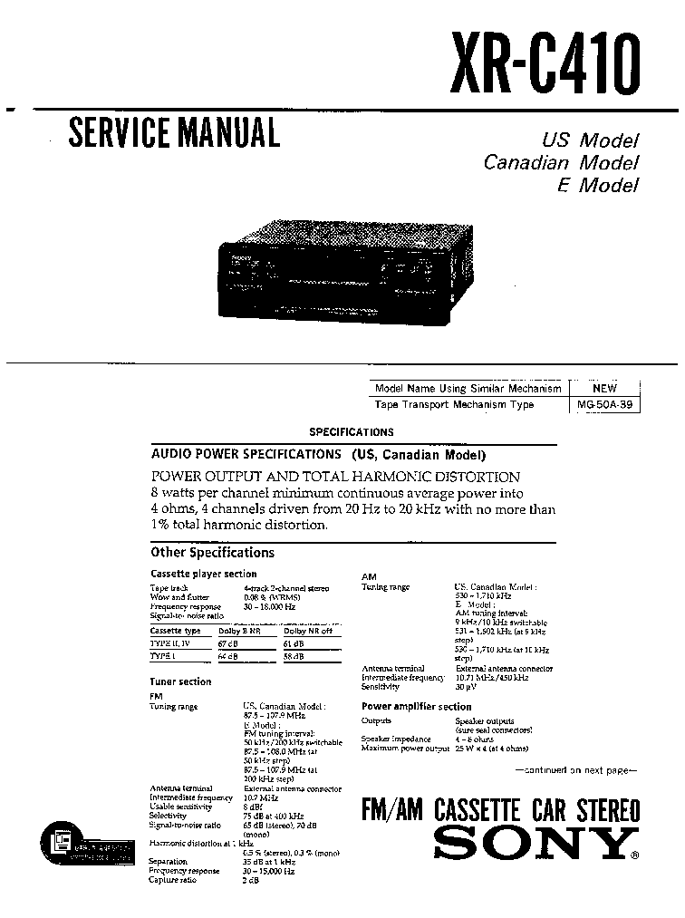 sony xr-c410 sm service manual (1st page)