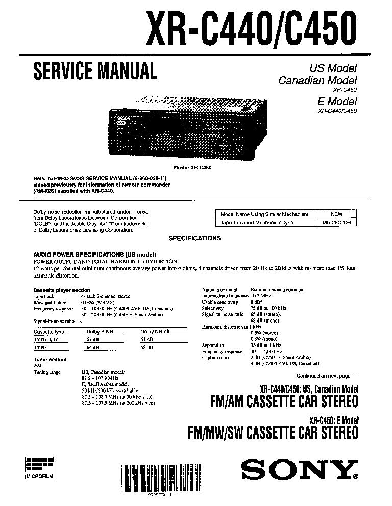 SONY XR-C440 C450 SM
