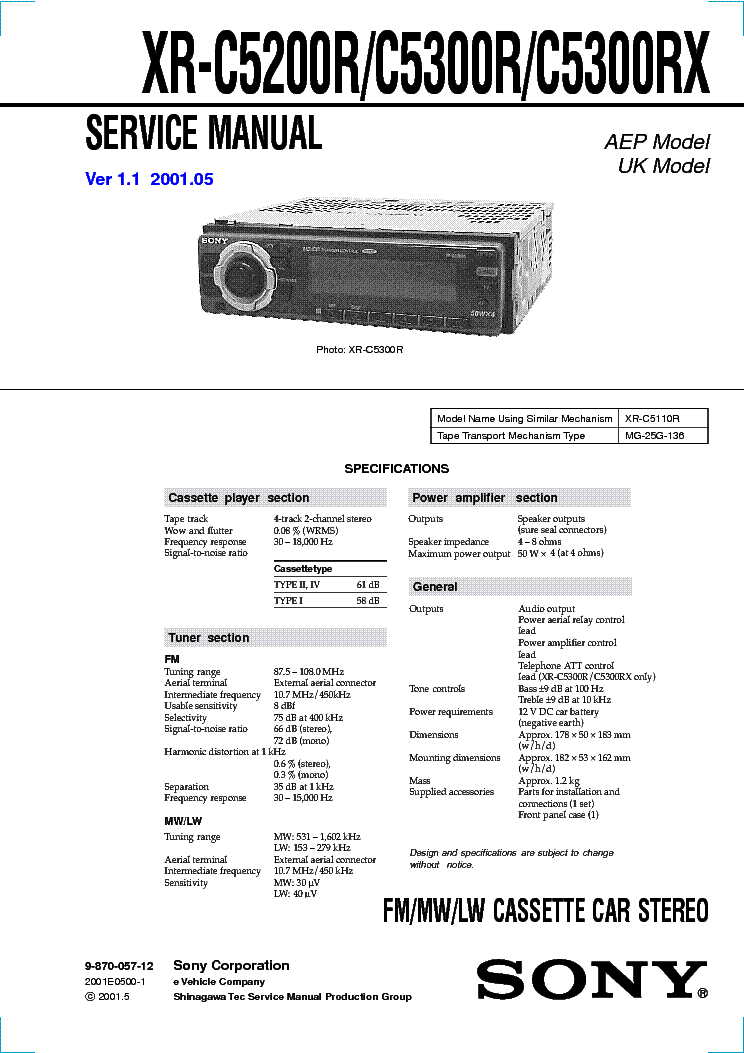 SONY CDX-MP40 VER-1 1 Service Manual download, schematics