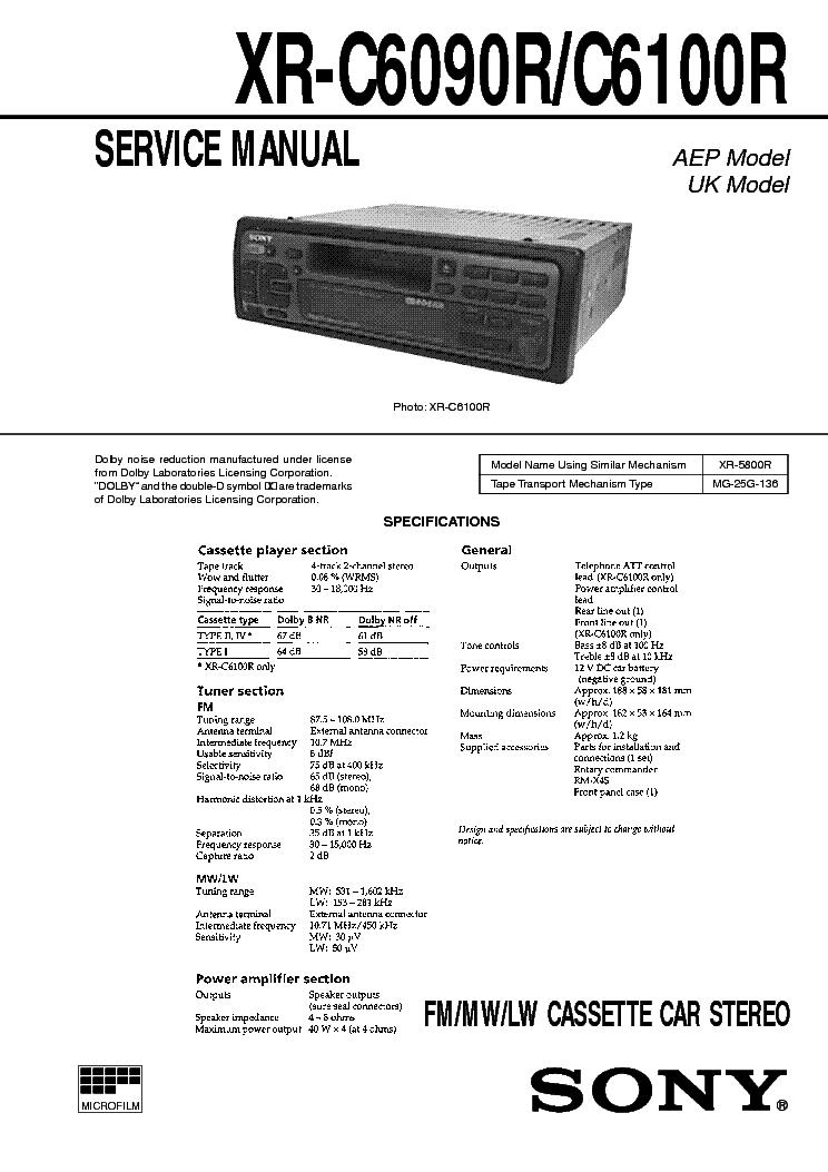 SONY XR-C6090R C6100R Service Manual download, schematics, eeprom ...