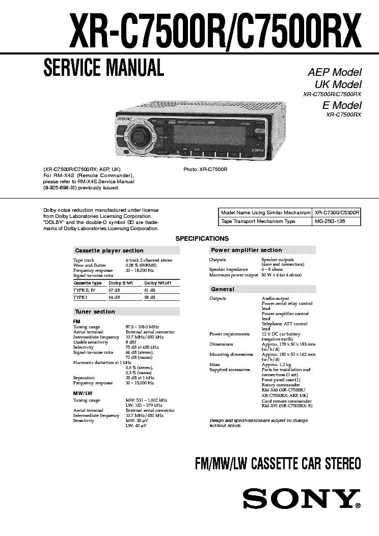 SONY XR-C7500R-C7500RX service