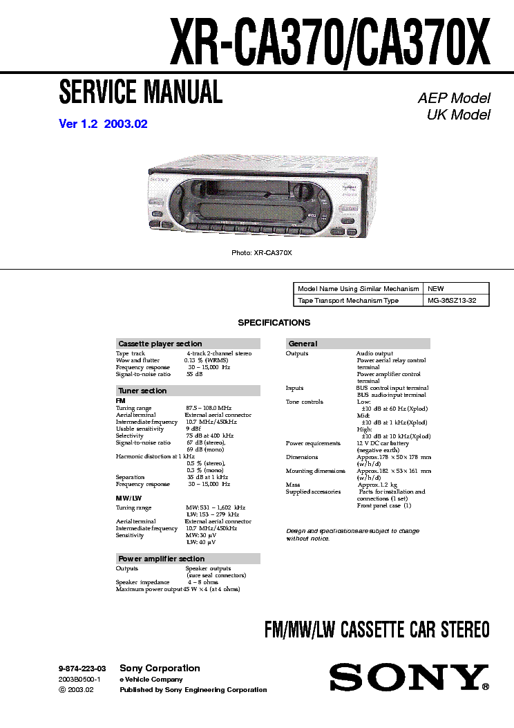 sony_xr ca370_ca370x.pdf_1 sony cdx m8800 8805x service manual download, schematics, eeprom  at mifinder.co