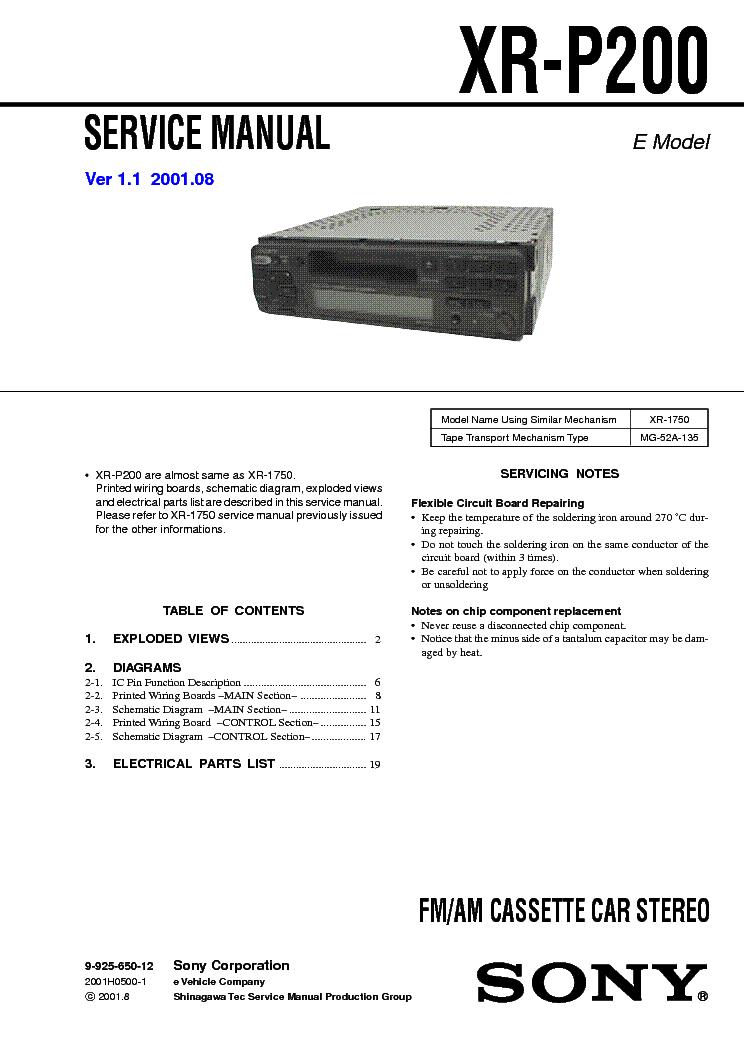 sony xr p200 ver1 1 service manual schematics sony xr p200 ver1 1 service manual