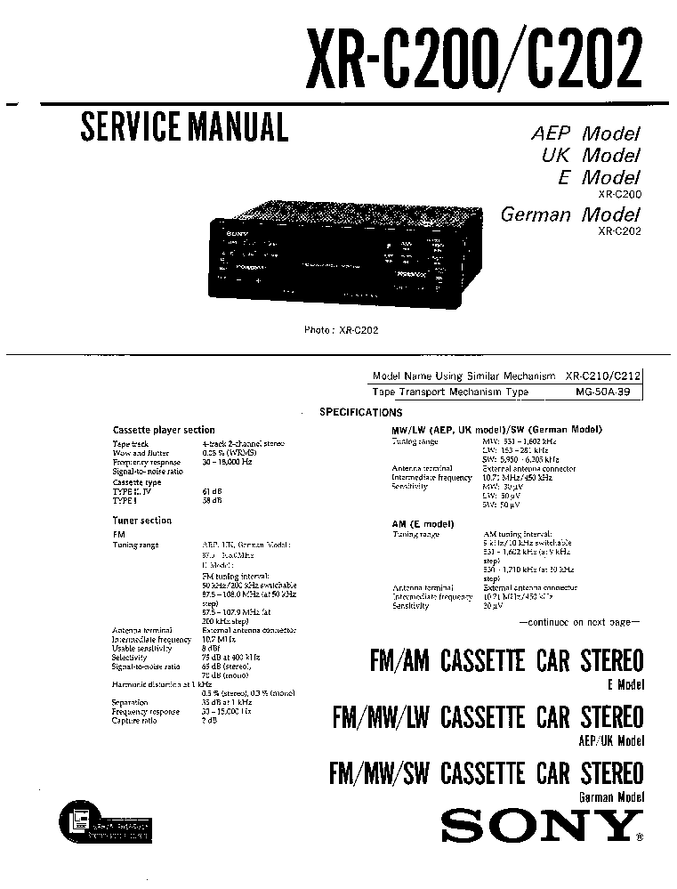 SONY XR C200 service manual
