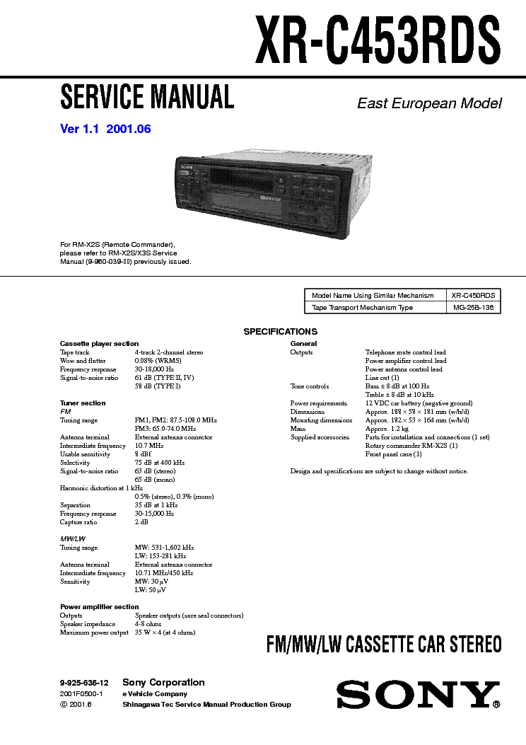 SONY XR C453RDS V1.1 service