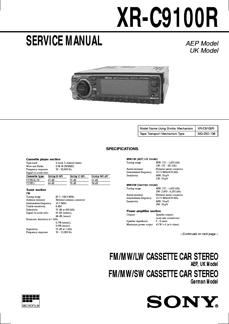 Sony Xr C9100r: Sony Cdx Gt07 Wiring Diagram At Executivepassage.co