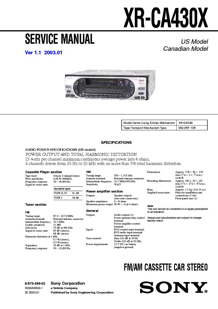 SONY XR CA430X V1.1 service