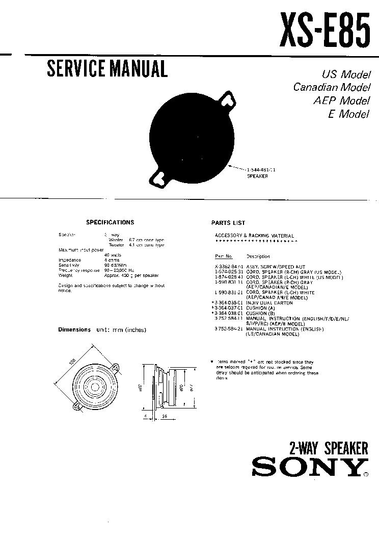 Unique Sony Xr 2100 Component - Schematic Circuit Diagram ...