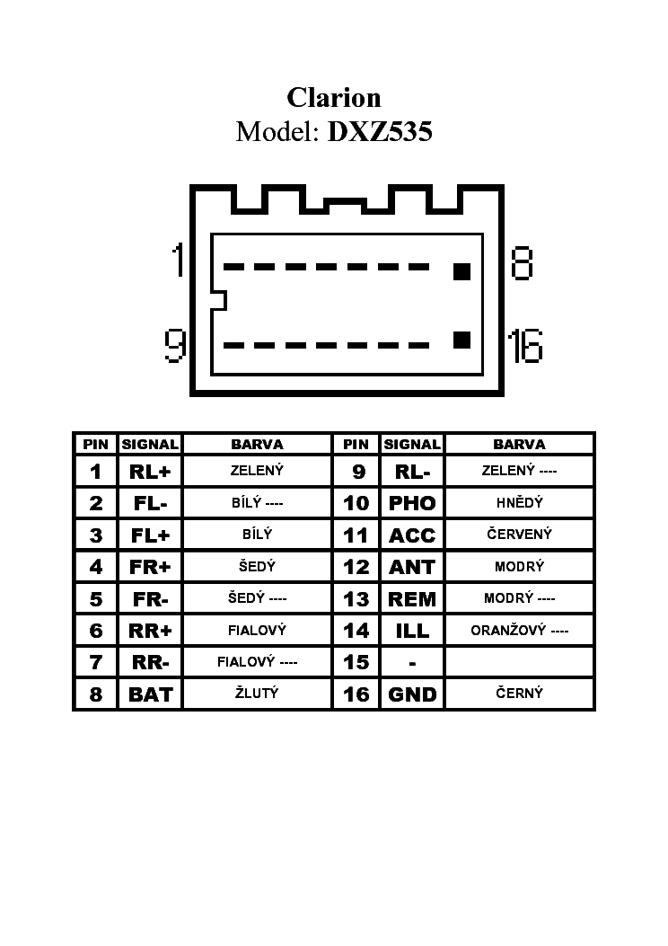 clarion dxz535 pinout connector service manual download. Black Bedroom Furniture Sets. Home Design Ideas
