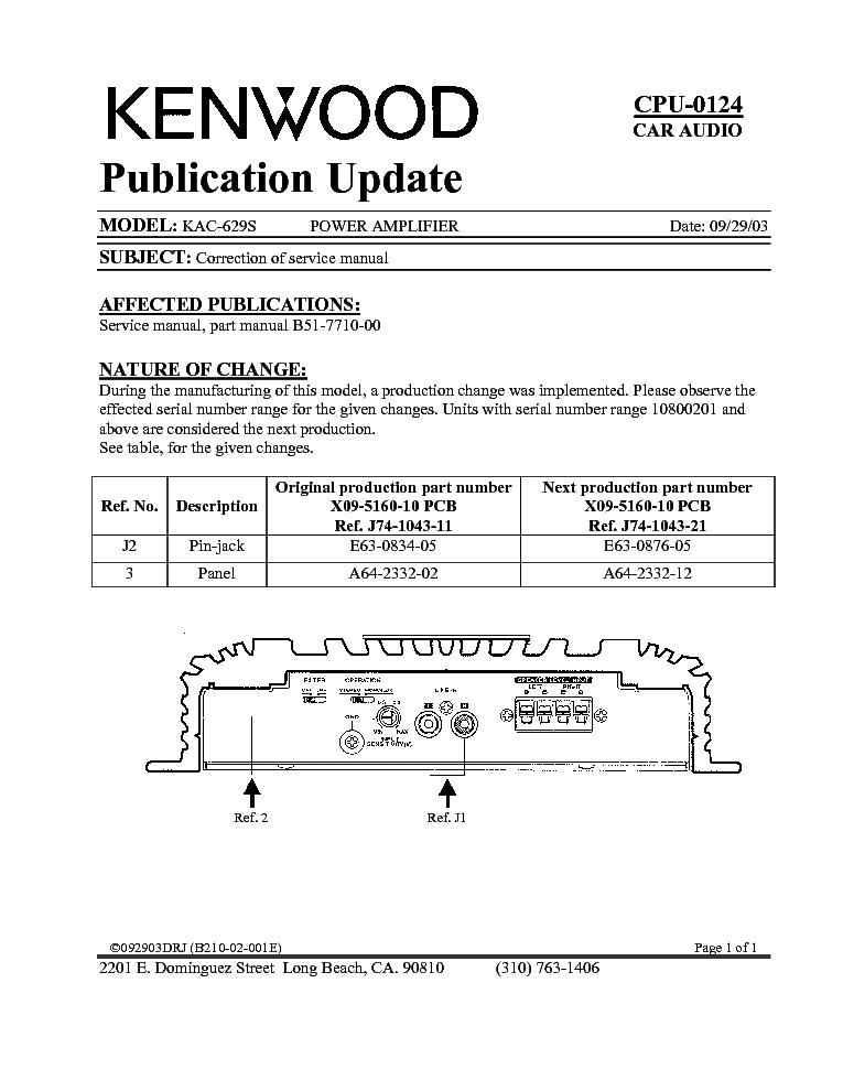 Kac 729s manual Kenwood Amp Kac Od Wiring Diagram on
