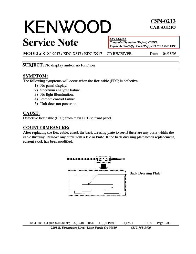 KENWOOD KDC-9017-X817-X917 CSN-0213 INFO Service Manual