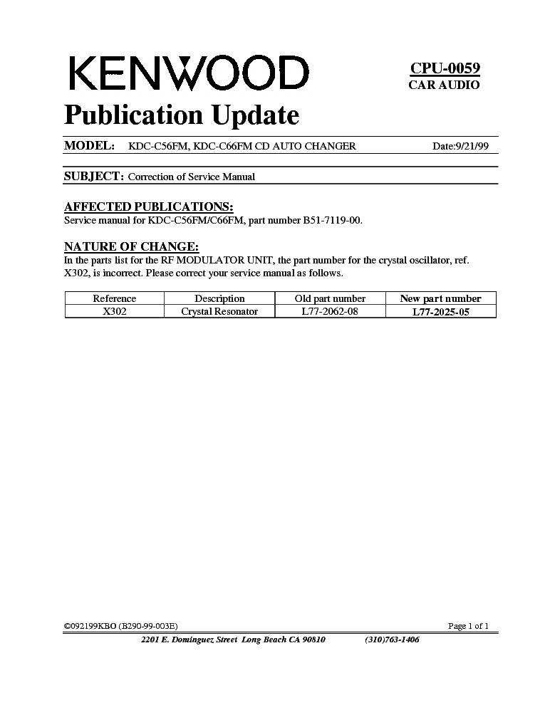 kenwood kdc c56fm c66fm cpu 0059 info service manual download
