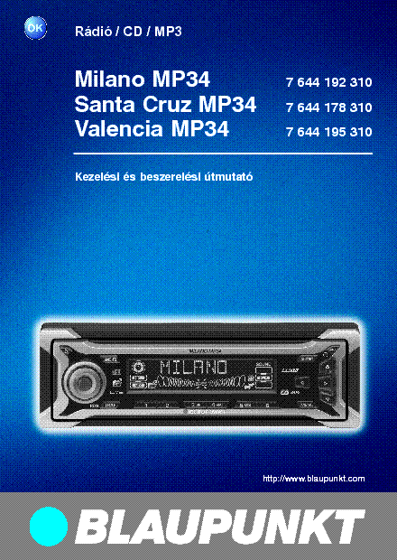 blaupunkt_milano_santa_cruz_valencia_mp34_7644178310_usermanual_hu.pdf_1 blaupunkt milano santa cruz valencia mp34 7644178310 usermanual hu  at edmiracle.co