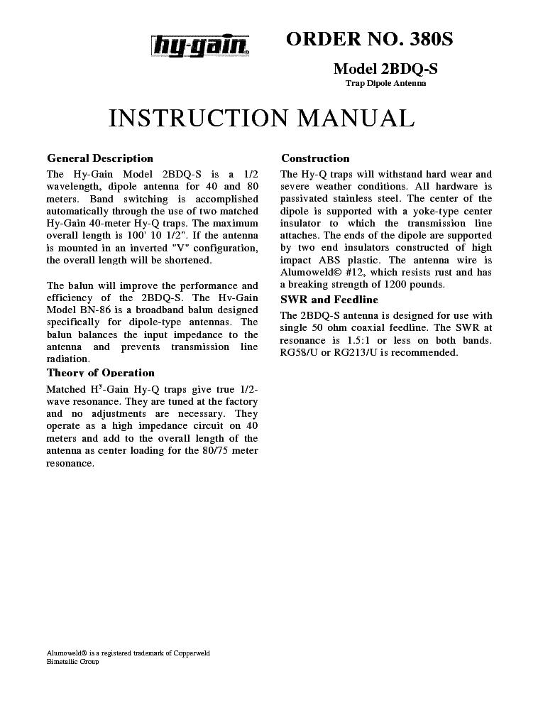 HY-GAIN 2BDQ-S TRAP DIPOLE ANTENNA Service Manual download