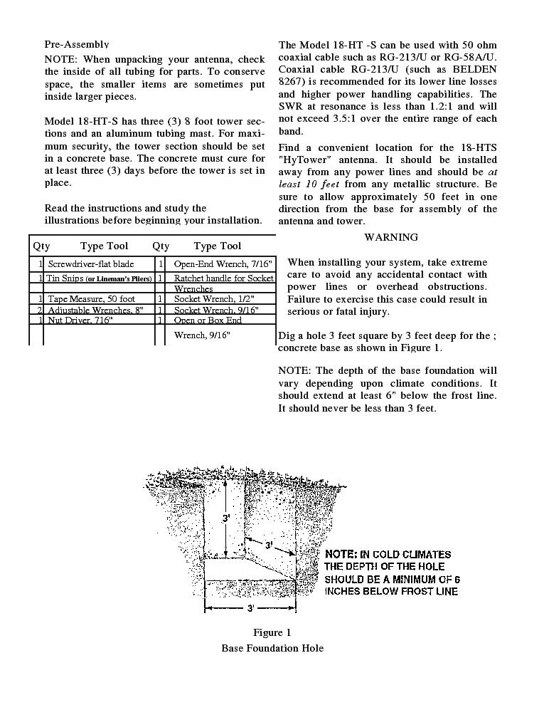 HY-GAIN AV-18HT 10-160M 1KW VERTICAL ANTENNA SM Service