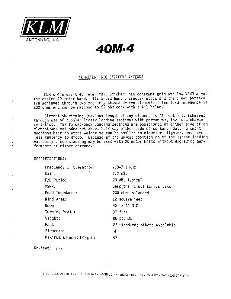 KLM 40 METER BIG STICKER 4 ELEMENT BEAM Service Manual download