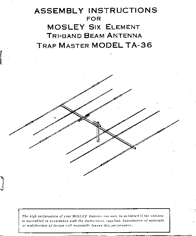 Mosley Electronics Ta 36 Six Element Tri Band Beam Antenna