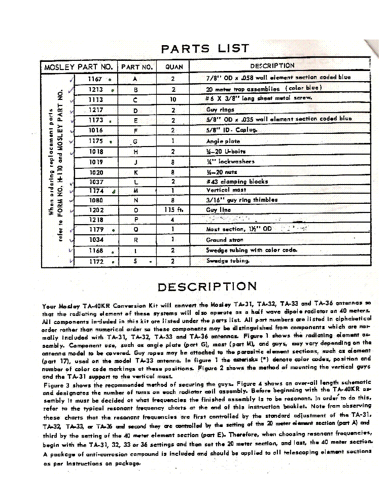 MOSLEY ELECTRONICS TA-40-KR CONVERTS TA 31 32 33 36 FOR