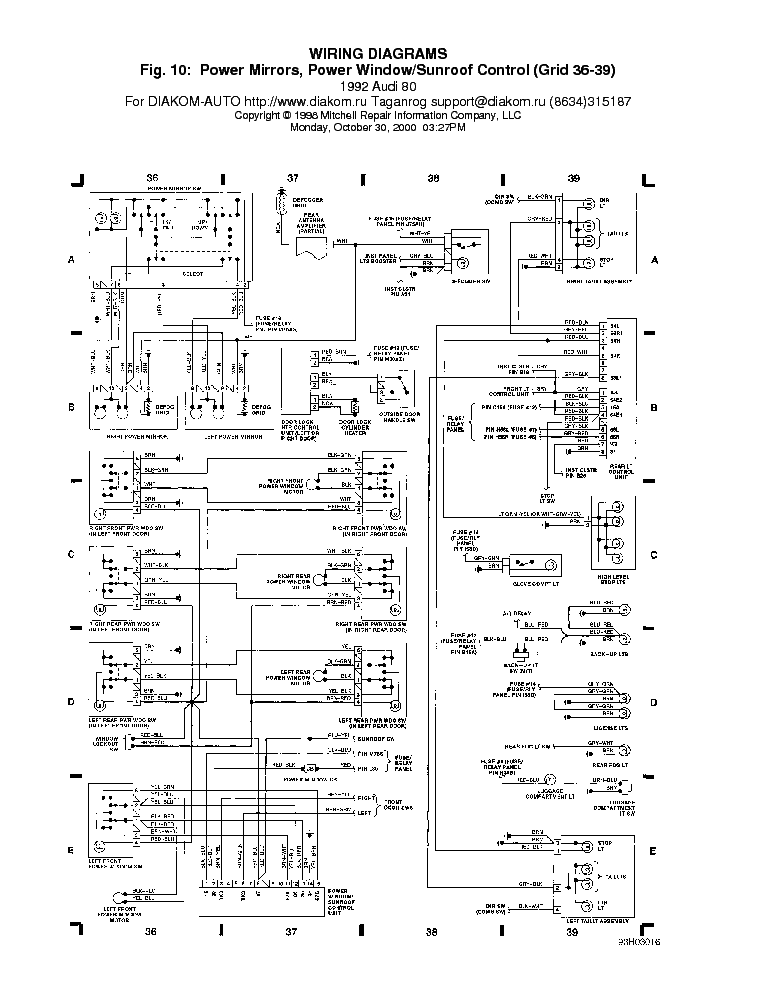 AUDI 80 WIRING DIAGRAM 1992 Service Manual download ...