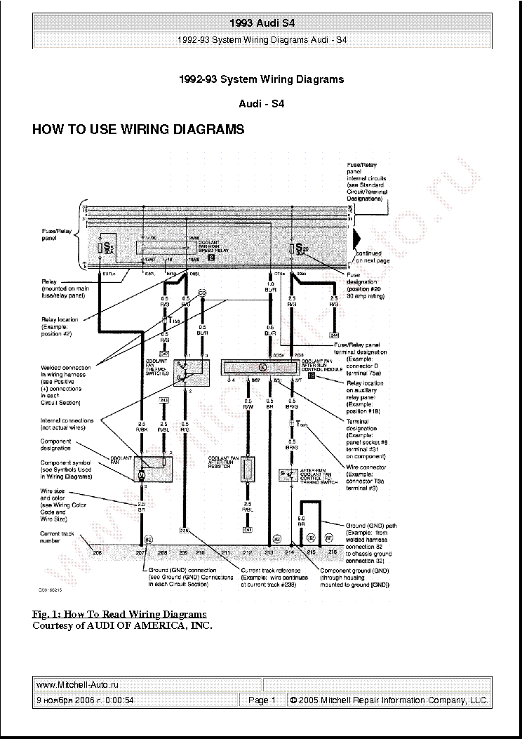 Audi S4 1993 Wiring Diagrams Sch Service Manual Download