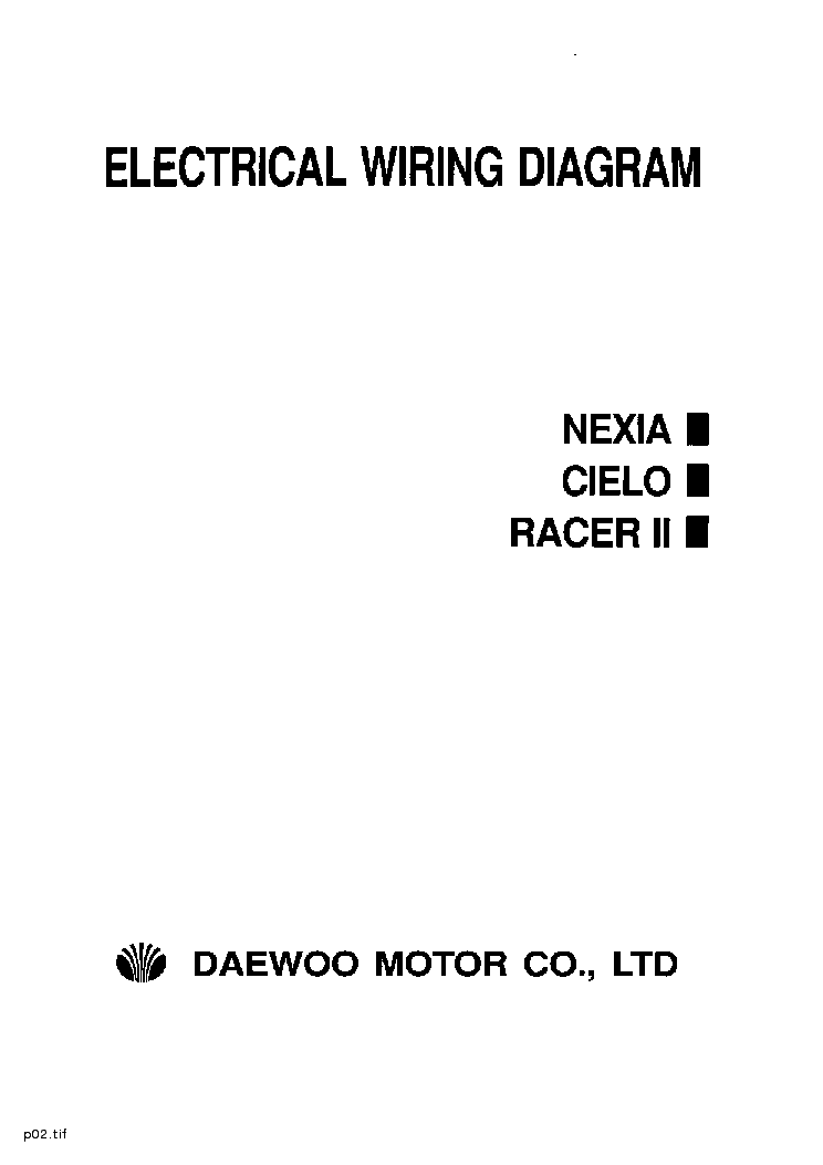 daewoo nexia cielo racer ii electrical wiring diagram service manual download  schematics
