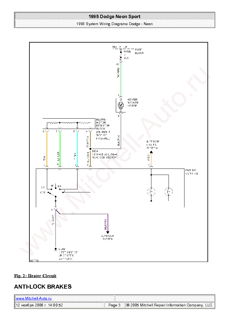 Dodge Neon Sport 1998 Wiring Diagrams Sch Service Manual