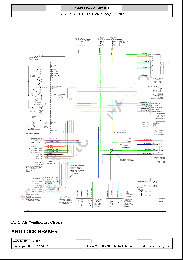 Dodge Stratus 1998 Wiring Diagrams Sch Service Manual