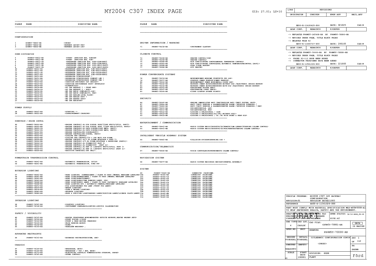 ford focus mk2 2004 full wiring diagram service manual (2nd page)