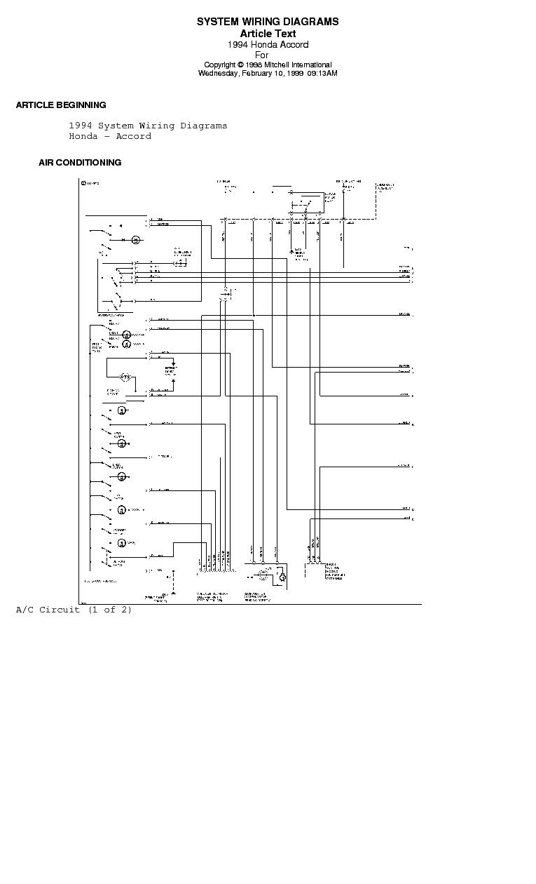 HONDA   ACCORD 199497 SYSTEM   WIRING      DIAGRAMS    Service Manual