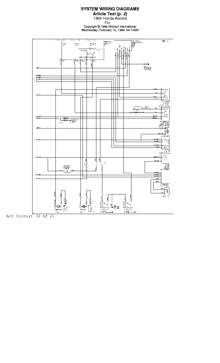 Fabulous Honda Accord 1994 97 System Wiring Diagrams Service Manual Download Wiring Digital Resources Ntnesshebarightsorg