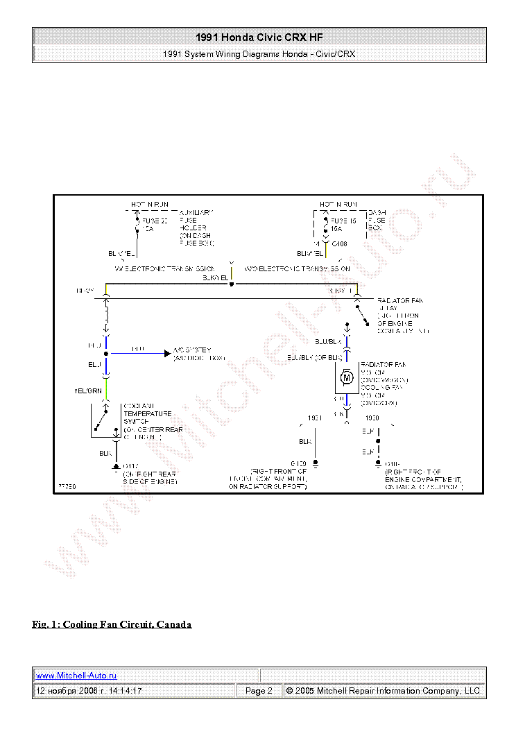 honda civic crx hf 1991 wiring diagram sch service manual (1st page)