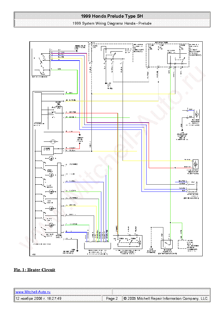 Honda Prelude Type Sh 1999 Wiring Diagrams Sch Service Manual - Wiring Diagram