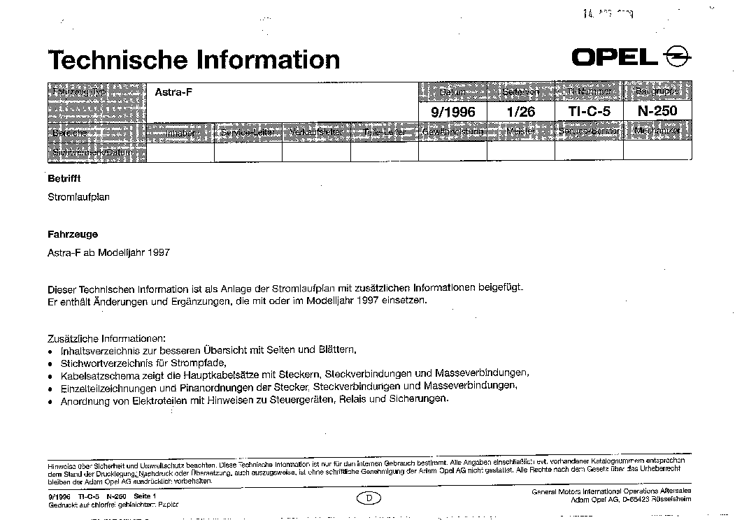 Opel Astra F Wiring Diagram Service Manual Download