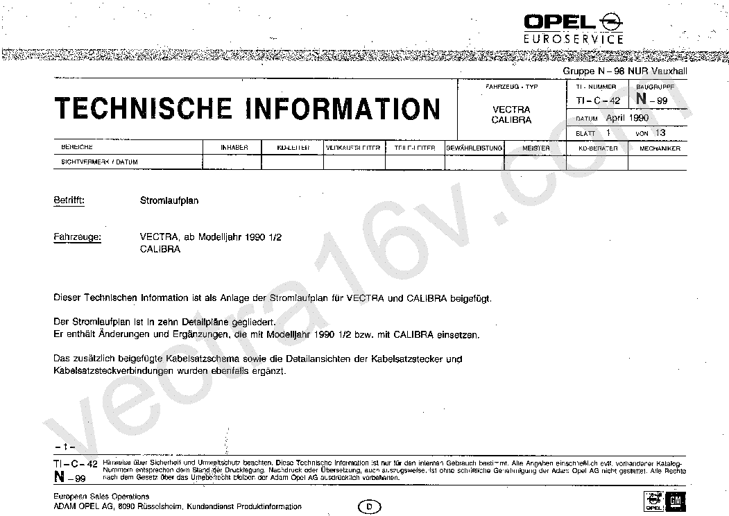 Opel Astra G Wiring Schematic Service Manual Download