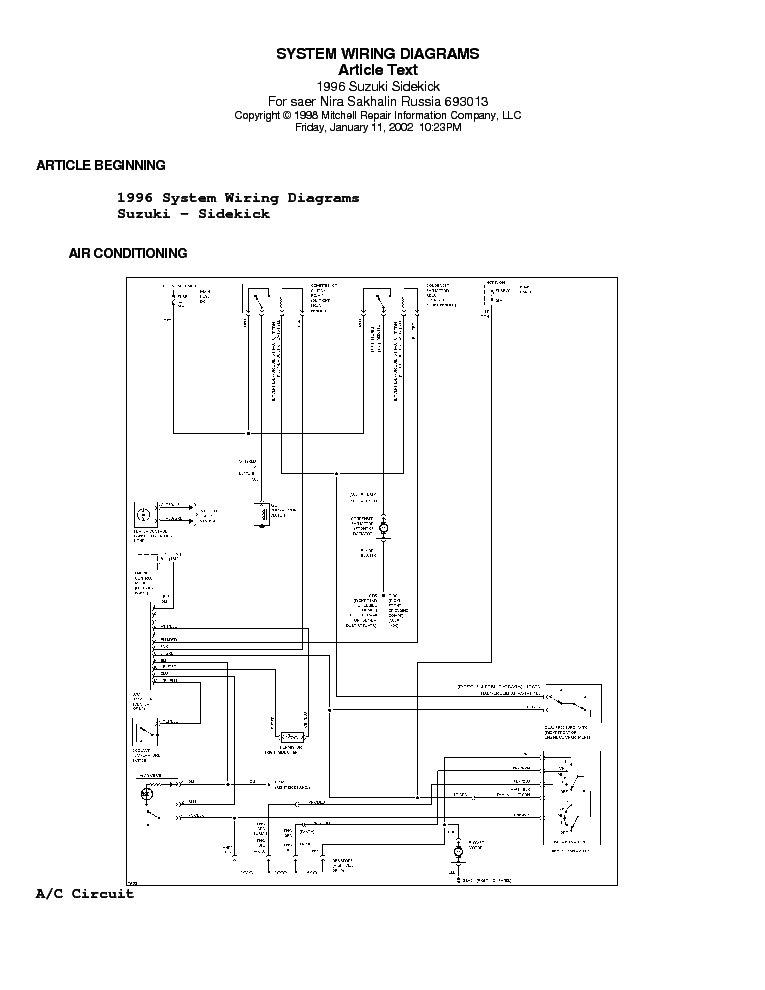 Suzuki Sidekick Wiring Diagram 95 96 Sch Service Manual