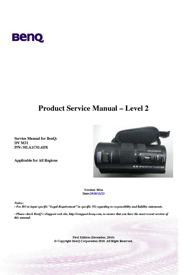 BENQ DV-S21 VER.001A LEVEL2 MOVIE CAMERA Service Manual ...