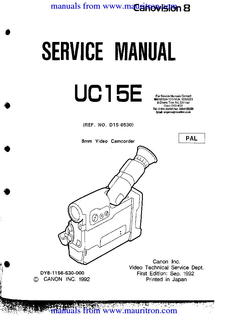 CANON UC15E SM service manual (1st page)