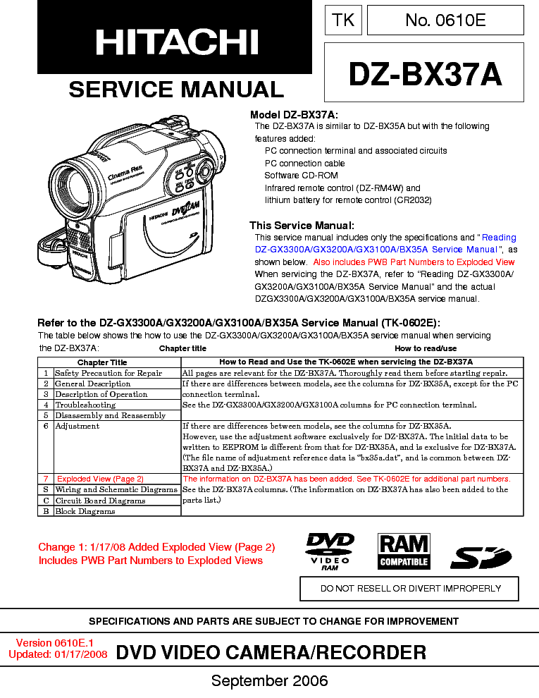 hitachi dz bx37a service manual download schematics eeprom repair rh elektrotanya com