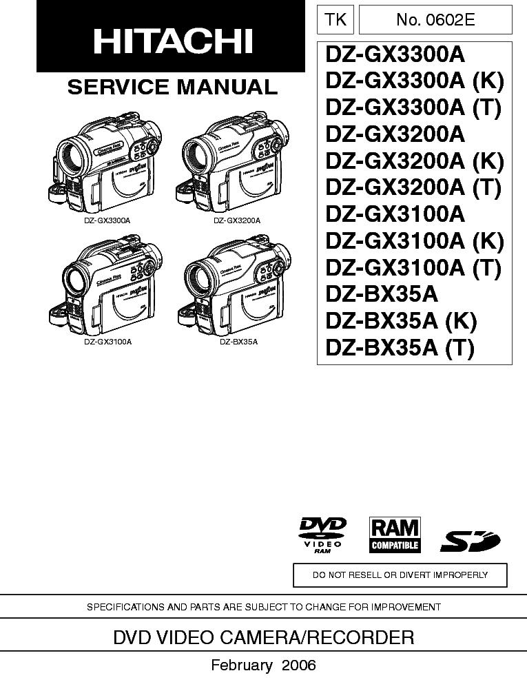 hitachi dz gx3100a gx3200a gx3300a bx35a sm service manual download rh elektrotanya com Hitachi Excavator Repair Manual Hitachi TV Service Manual