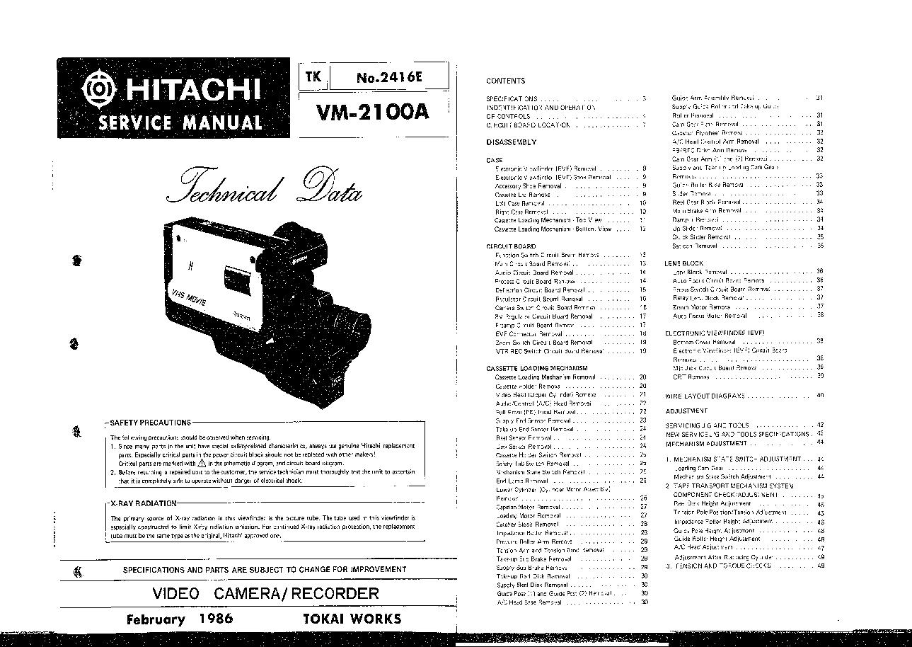 hitachi vm 2100a technical data sm service manual download rh elektrotanya com hitachi vm e545la manual hitachi vm-e230a manual