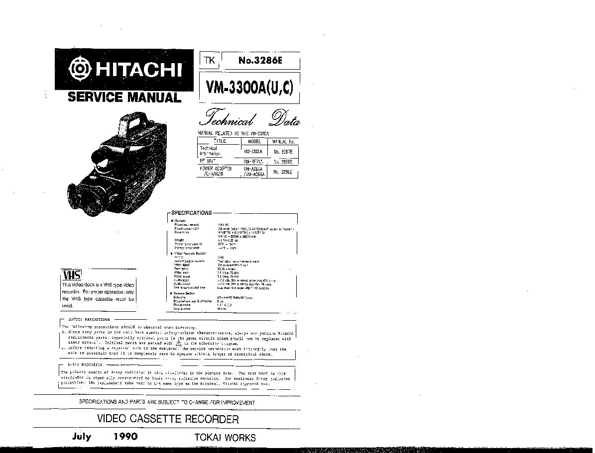 hitachi vm 3300a u c sm technical data service manual download rh elektrotanya com hitachi dvd camcorder manual hitachi vhs camcorder manual