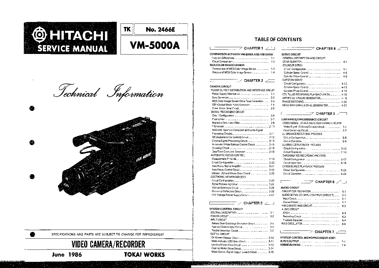 Hitachi Vm 5000a Service Manual Free Download Schematics border=