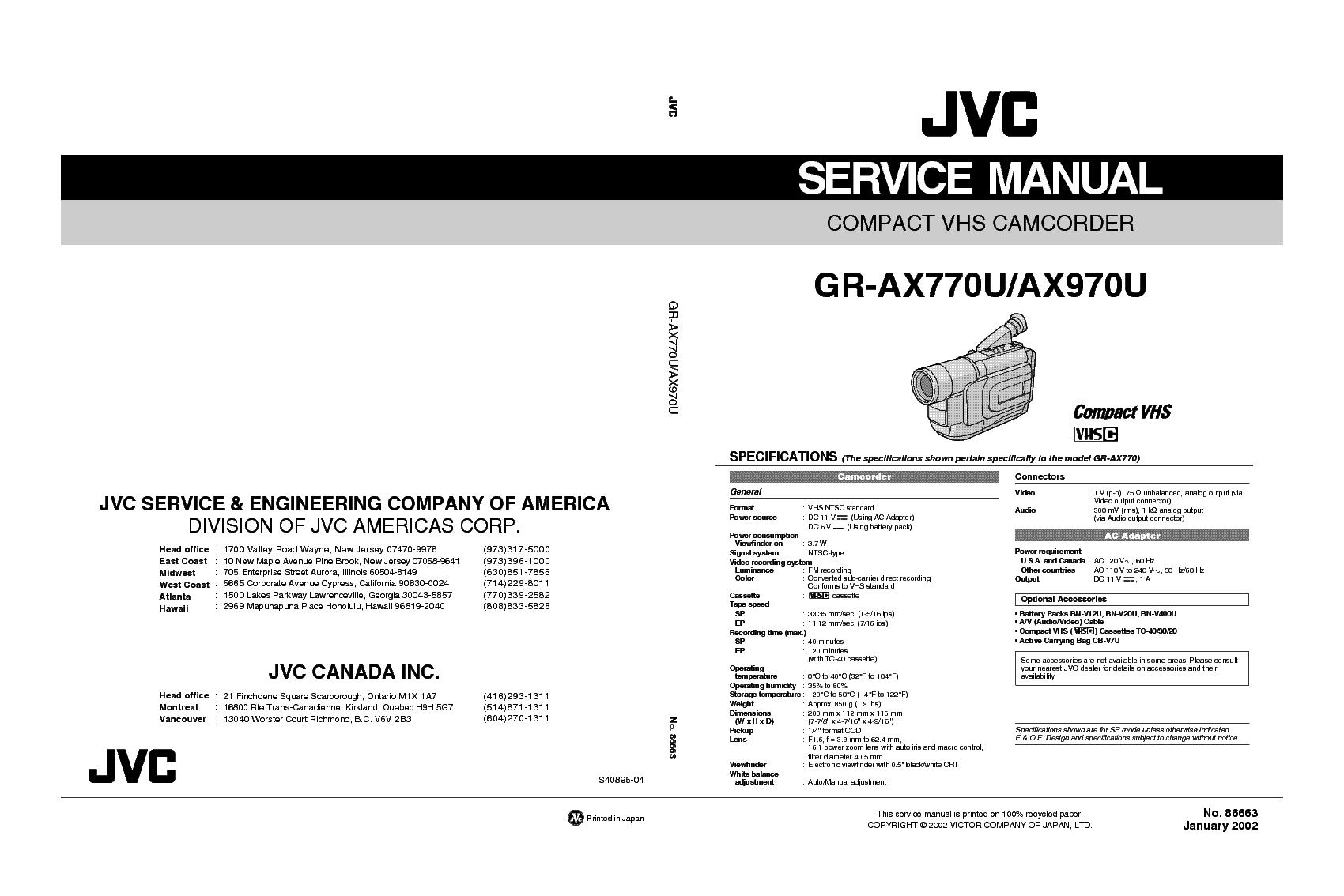 JVC GR-AX770U AX970U SM 3 service manual (1st page)
