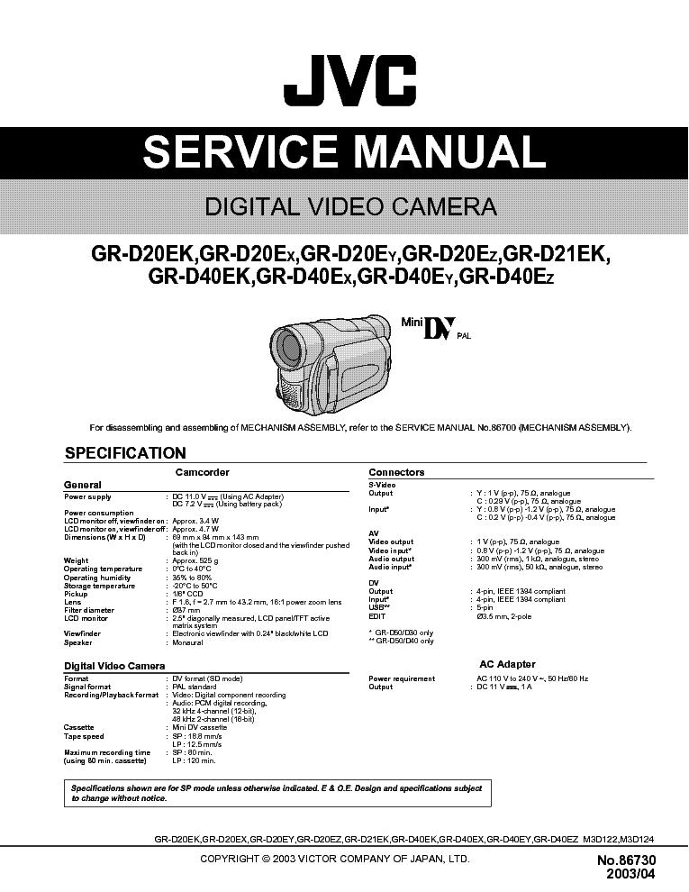 JVC    GRD20 D21 D40EK   EX   EYEZ SM Service    Manual    download