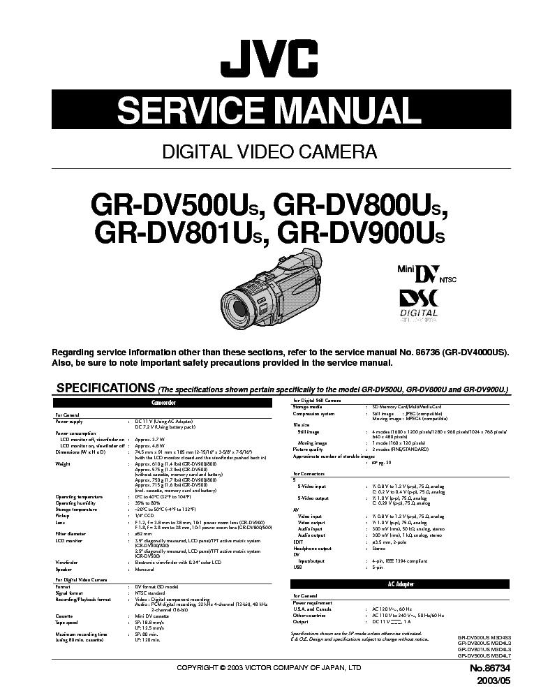 jvc gr dv500u gr dv800u 801u 900u sm service manual download rh elektrotanya com jvc gr dv 800 manual jvc gr dv800u manual