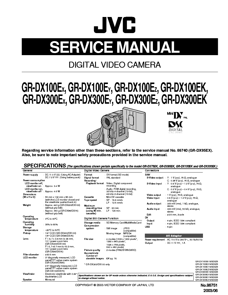 JVC GR-DX300 Instructions Manual JVC